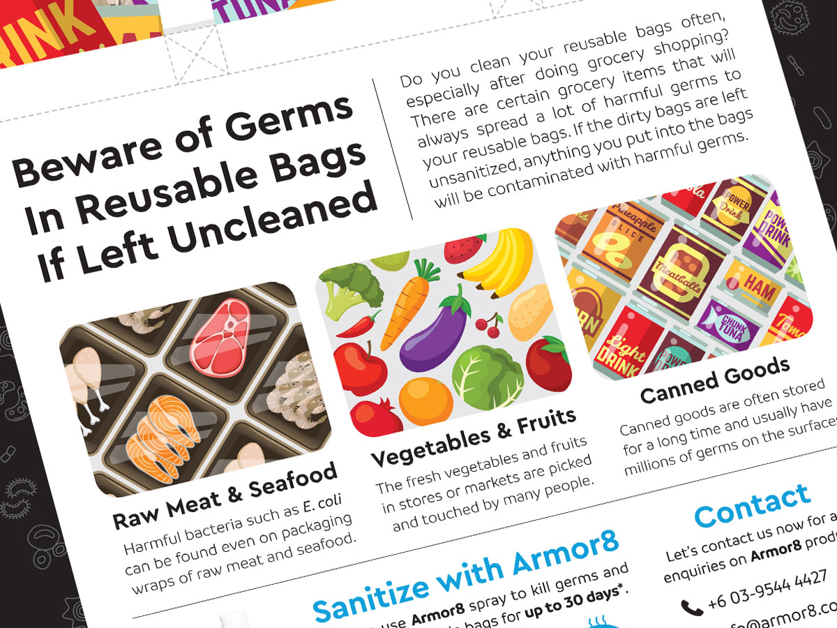 Armor8 Beware of Germs in Reusable Bags Flyer Design 01