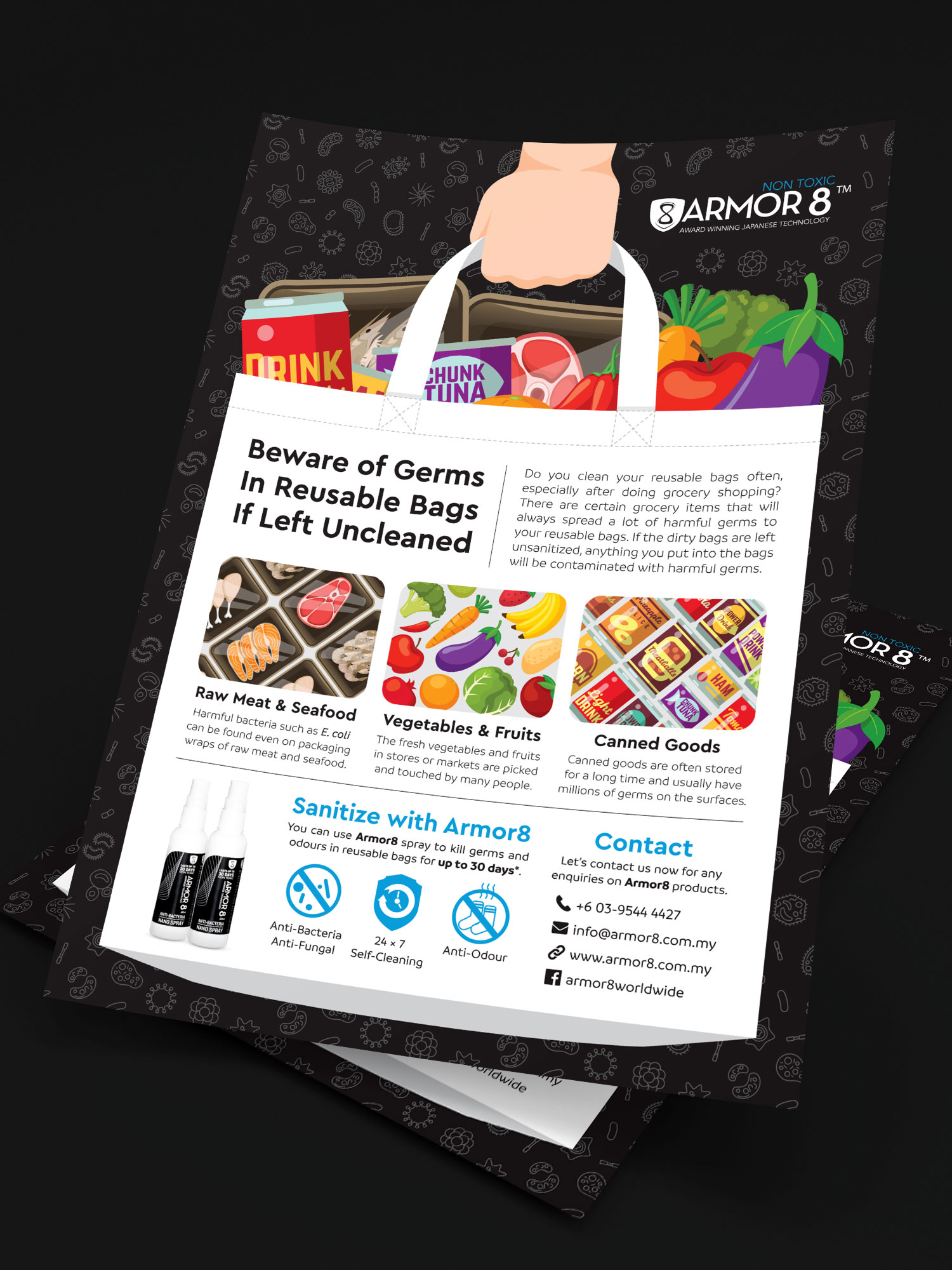 Armor8 Beware of Germs in Reusable Bags Flyer Design 02