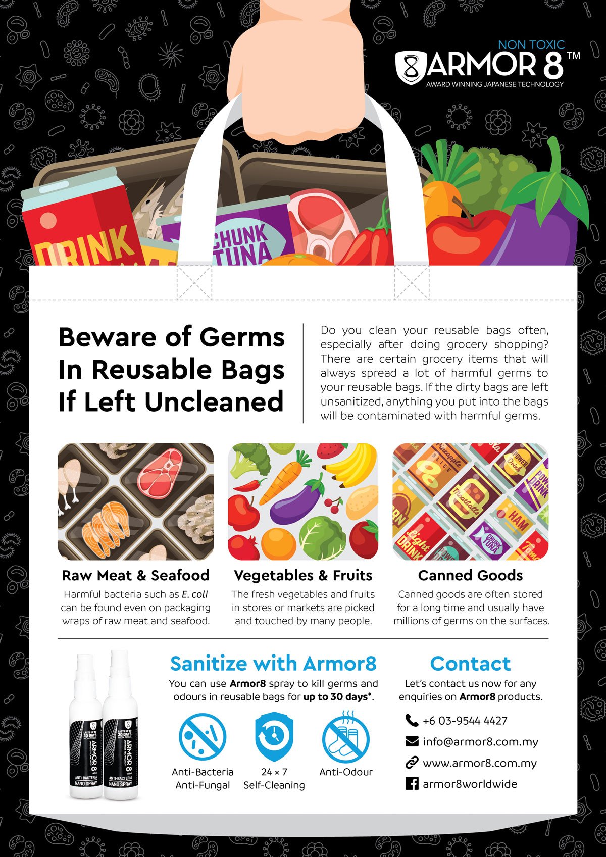 Armor8 Beware of Germs in Reusable Bags Flyer Design 06