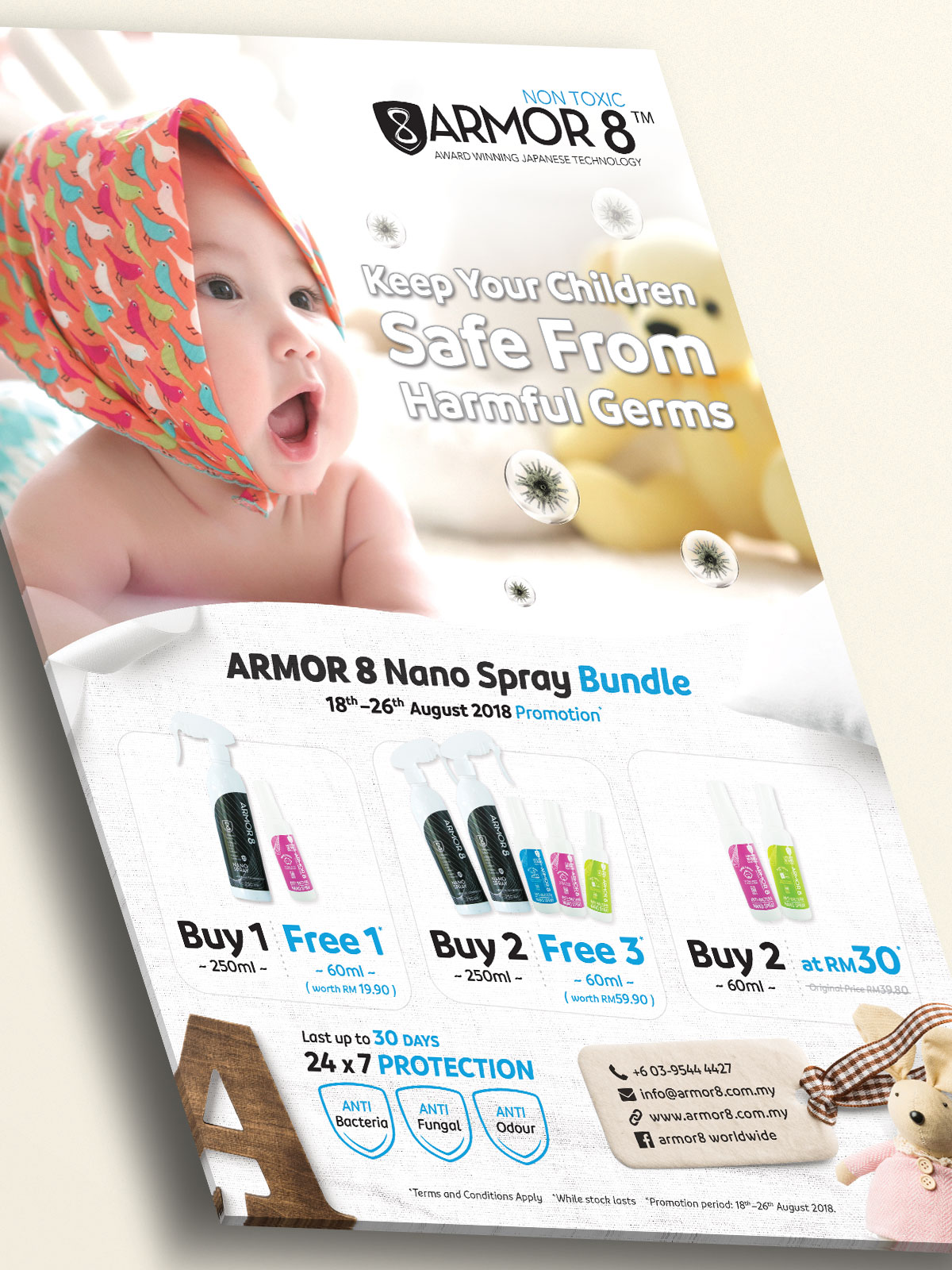 Armor8 Keeps Your Children Safe From Harmful Germs Poster Design 02