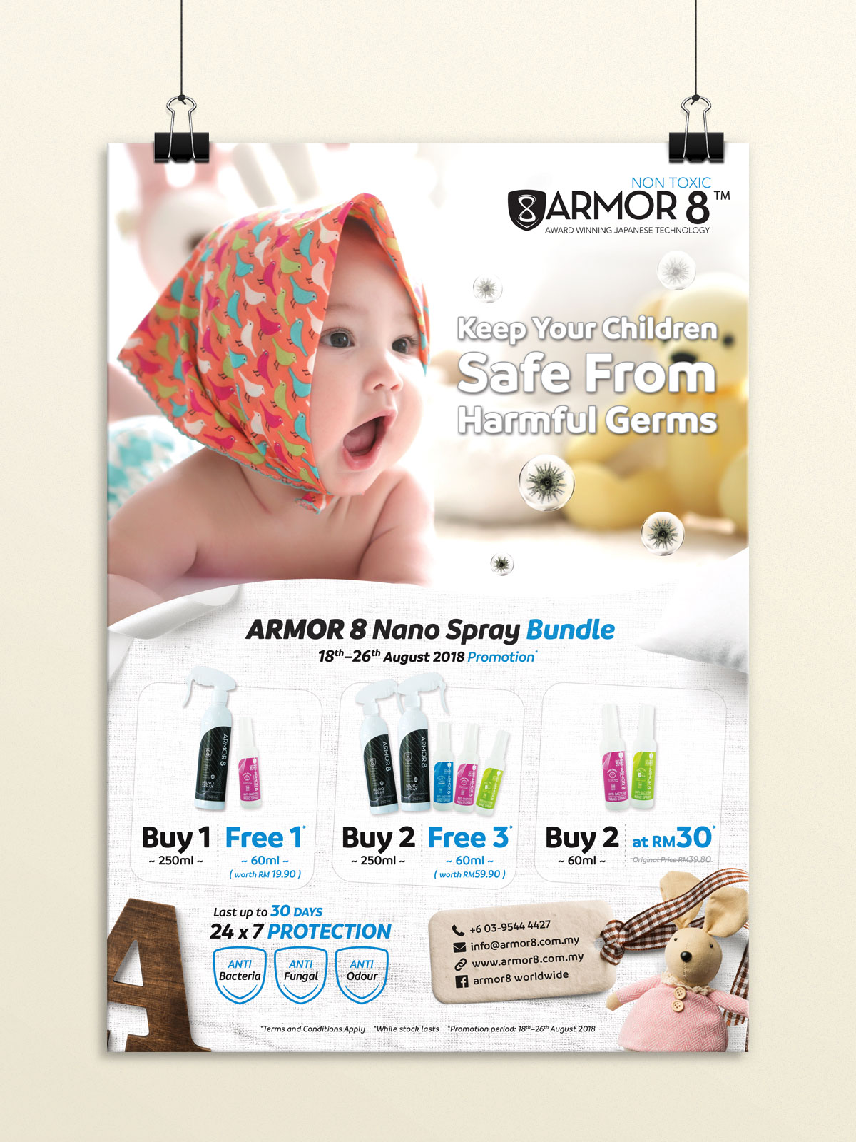 Armor8 Keeps Your Children Safe From Harmful Germs Poster Design 03