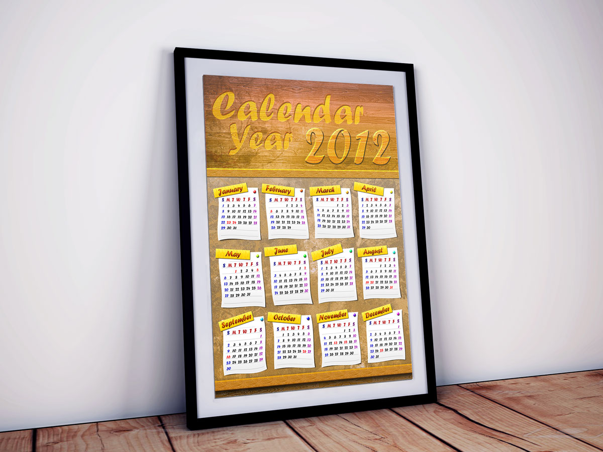 Corkboard Calendar Year 2012 Design 01