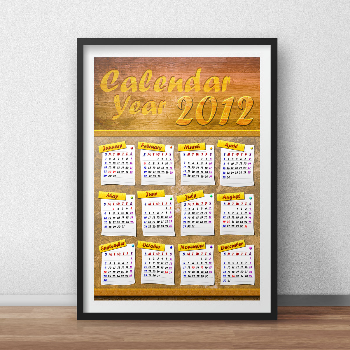Corkboard Calendar Year 2012 Design 02