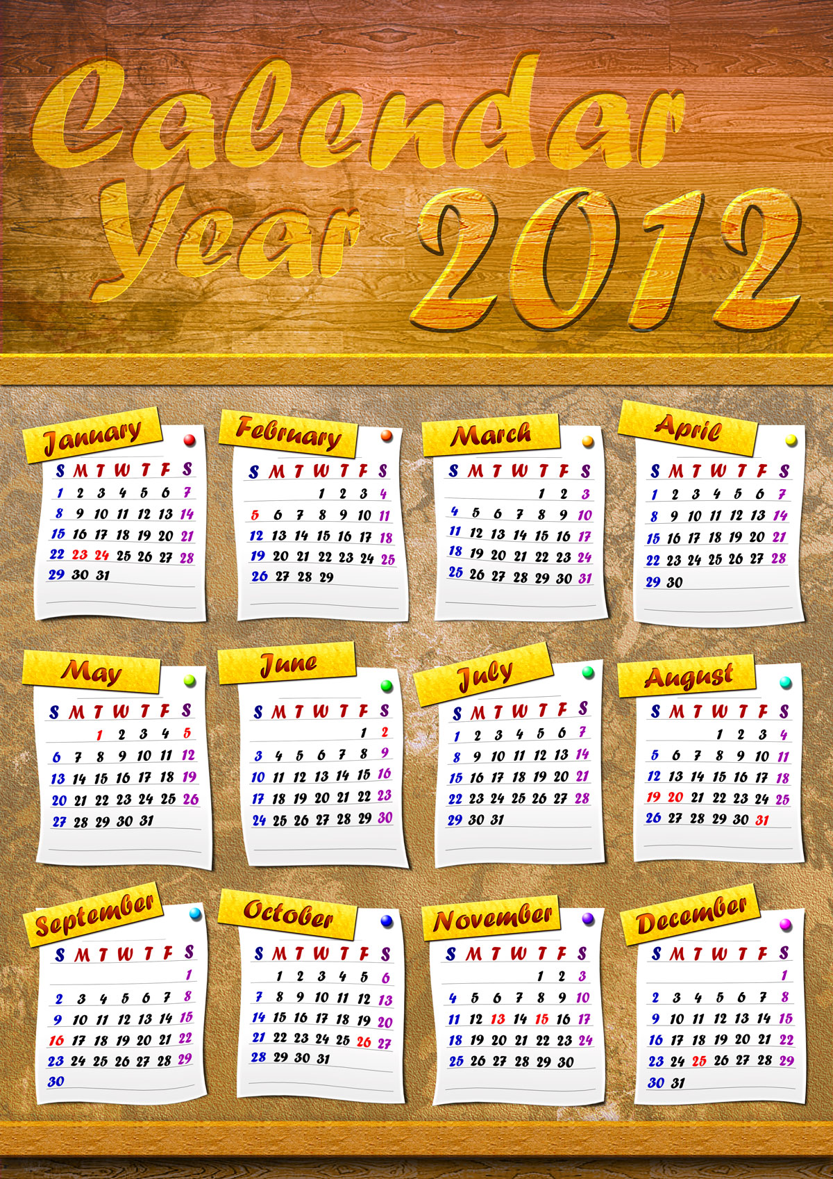 Corkboard Calendar Year 2012 Design 03