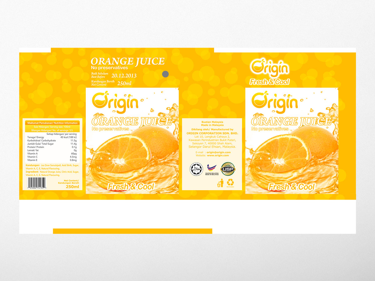 Origin Orange Juice Box Packaging Template Design