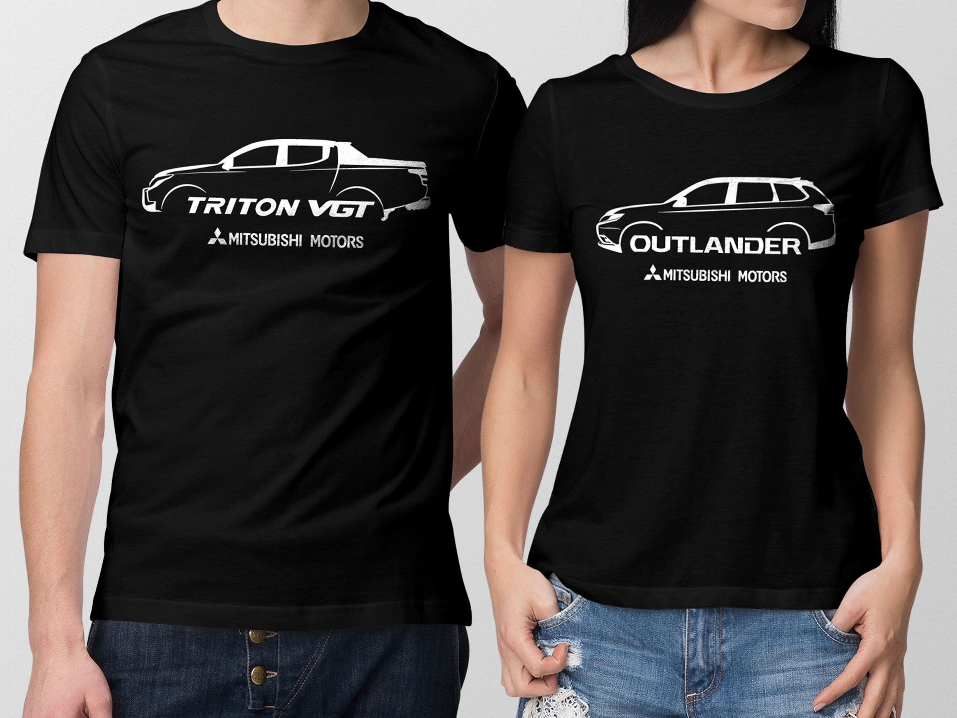 Sebangga Dunia Mitsubishi Triton VGT and Outlander Black Graphic Tees 01