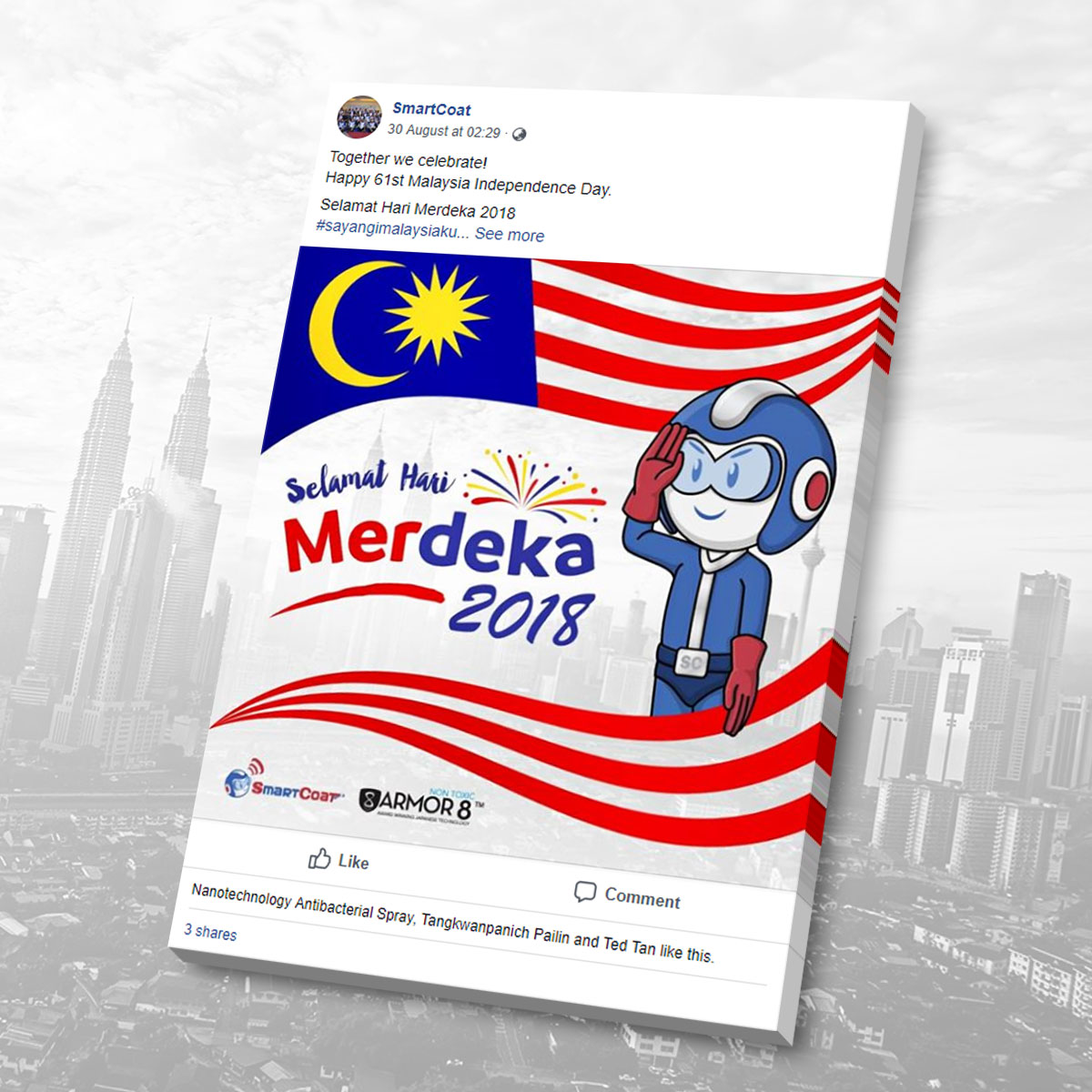 SmartCoat and Armor8 Selamat Hari Merdeka 2018 Facebook Post Design 03