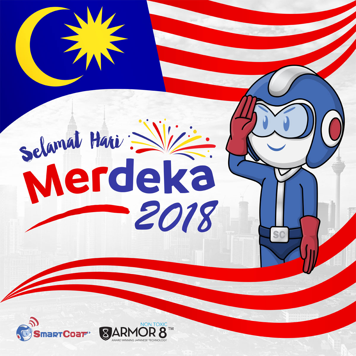 SmartCoat and Armor8 Selamat Hari Merdeka 2018 Facebook Post Design 04