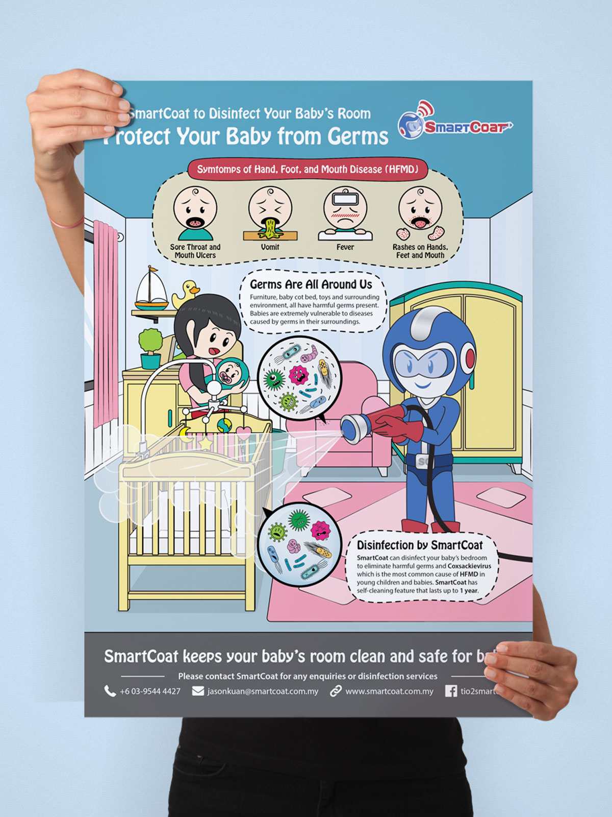 SmartCoat Protects Your Baby From Germs Poster Design 05
