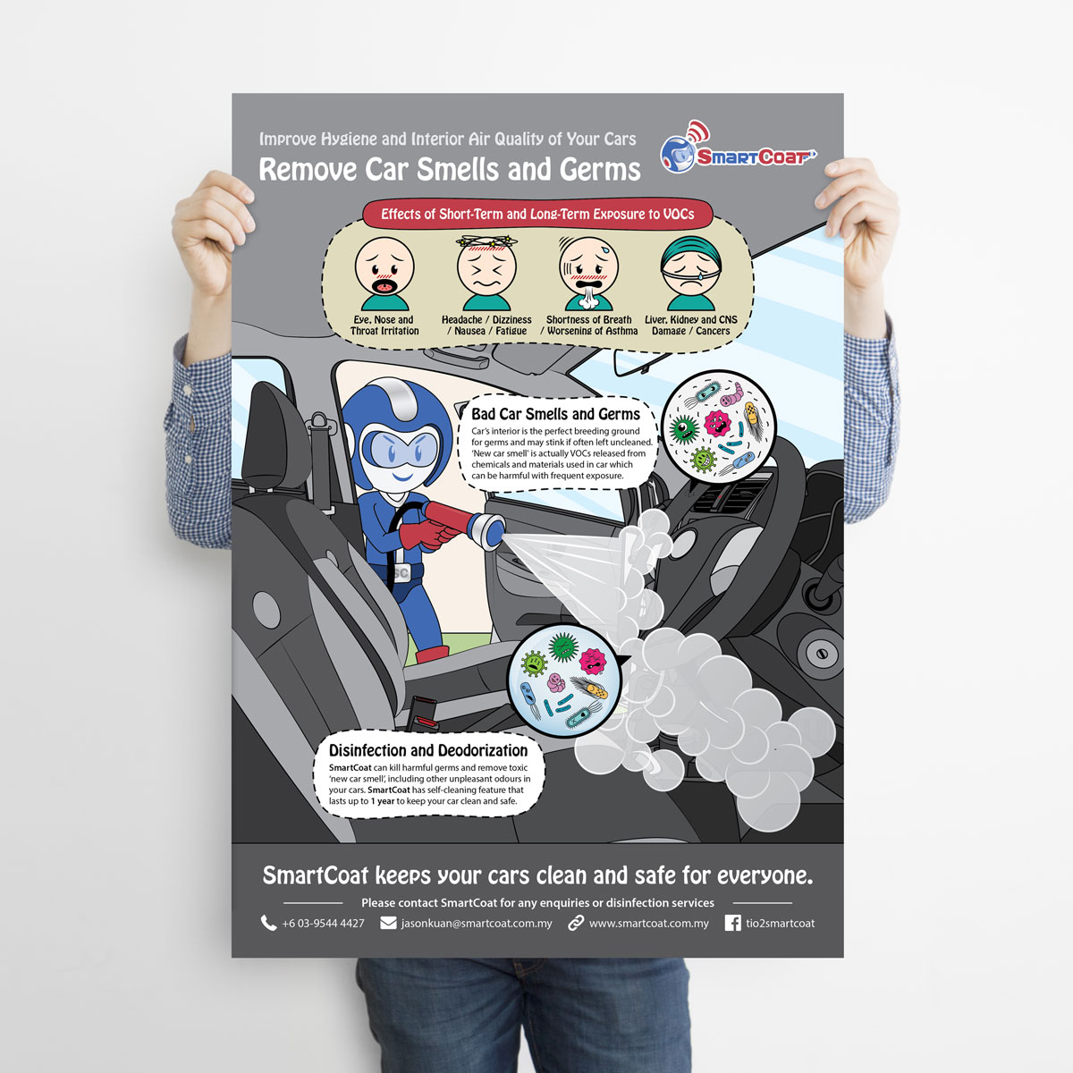 SmartCoat Removes Car Smells and Germs Poster Design 05