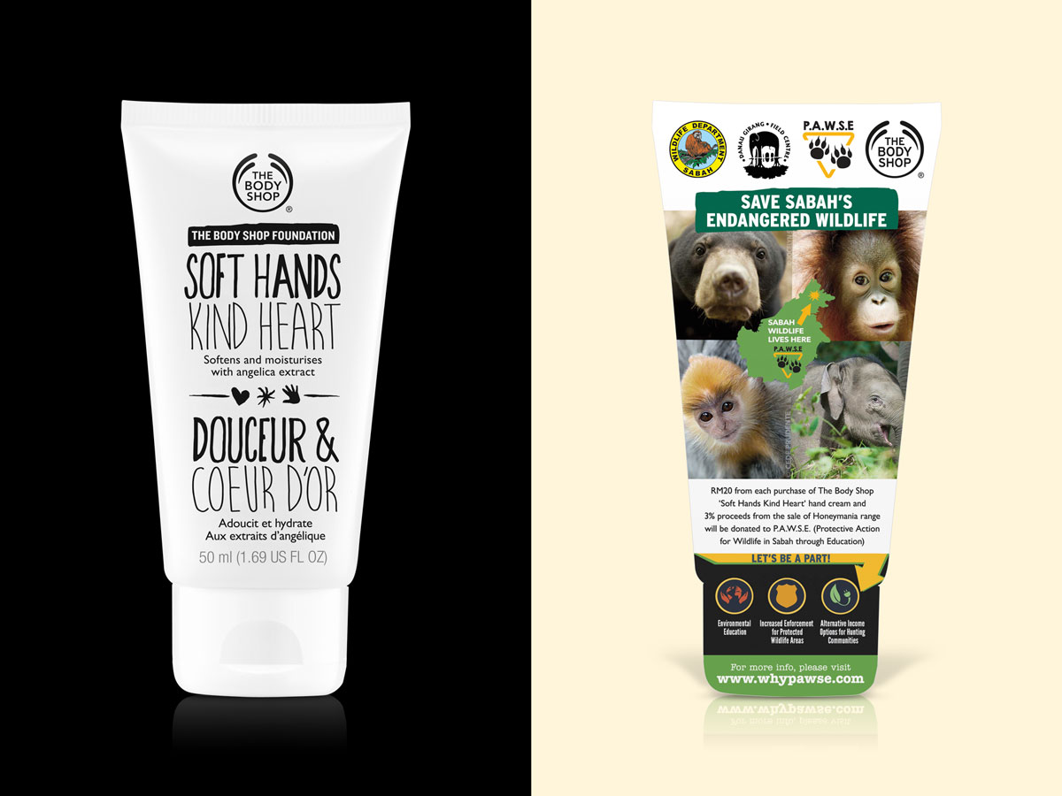 The Body Shop Soft Hands Kind Heart and P.A.W.S.E Charity Prop Design 02