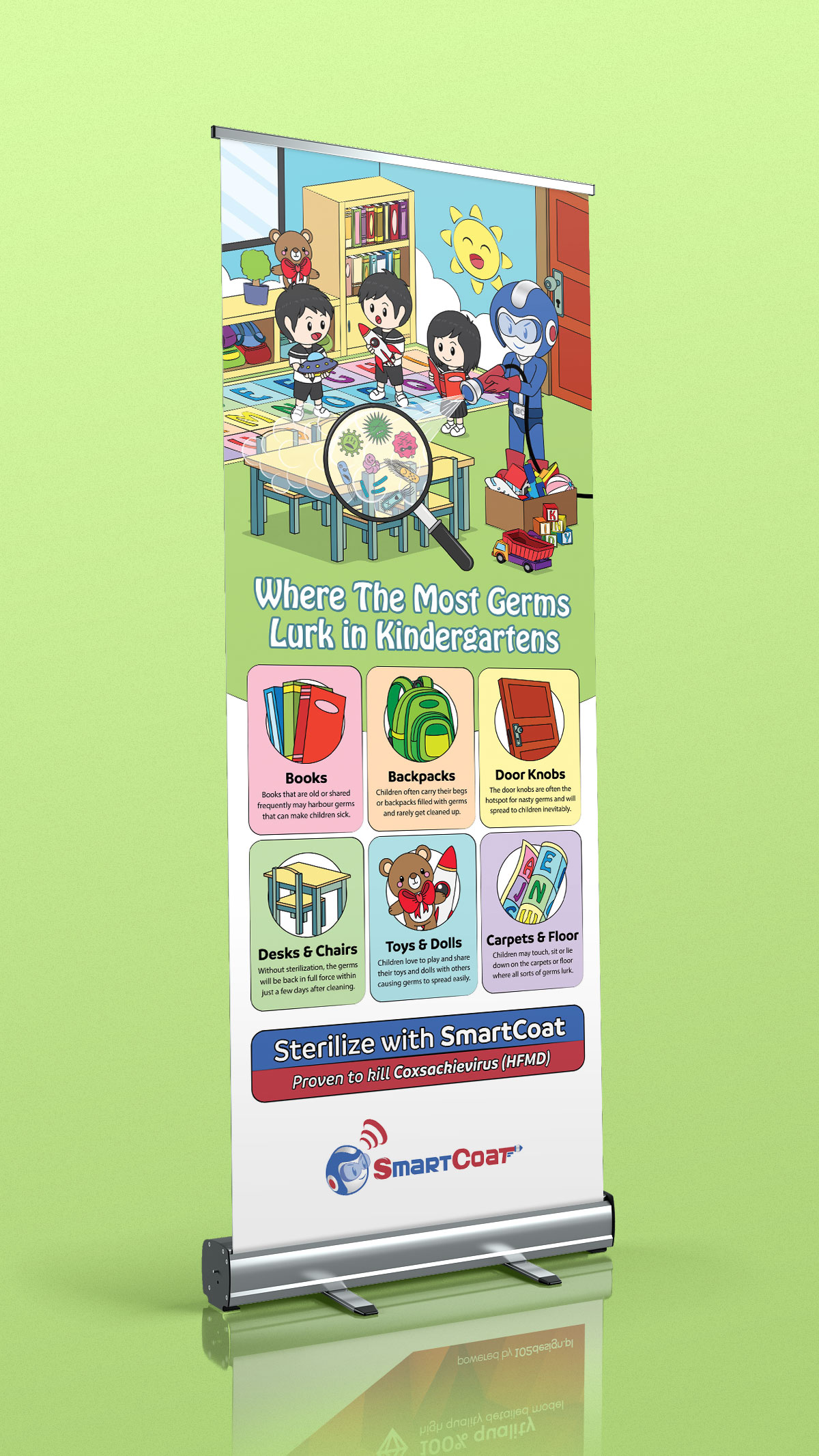 Where The Most Germs Lurk in Kindergartens Roll-Up Banner Design 04
