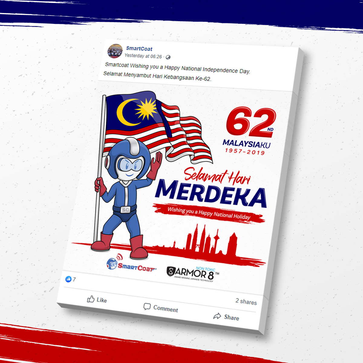 SmartCoat and Armor8 Selamat Hari Merdeka 2019 Facebook Post Design 03